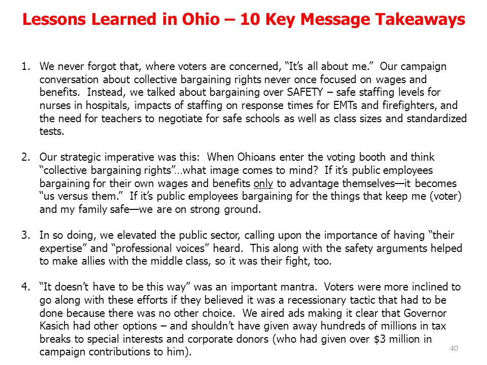 Lessons Learned in Ohio – 10 Key Message Takeaways