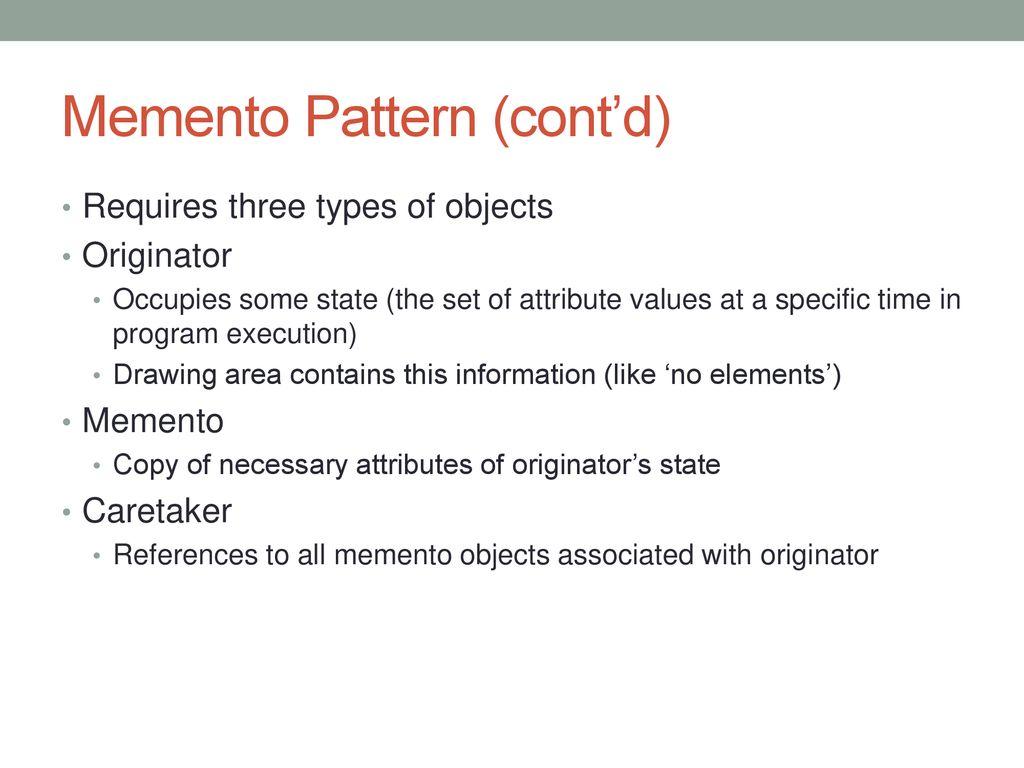 Memento Pattern Amazing Ideas