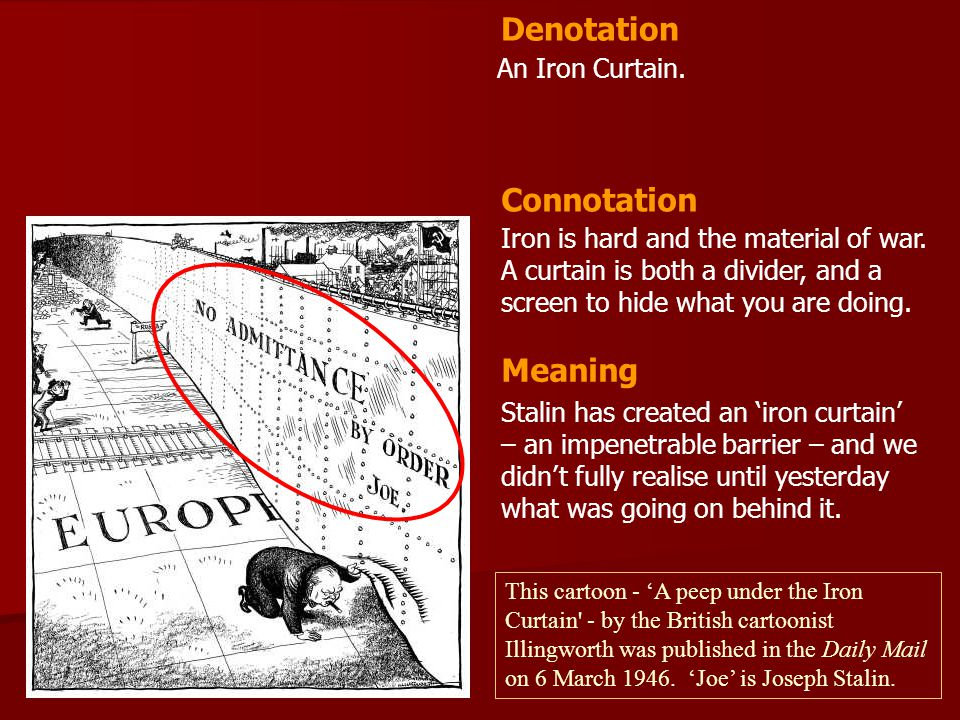 Denotation Connotation Meaning An Iron Curtain.