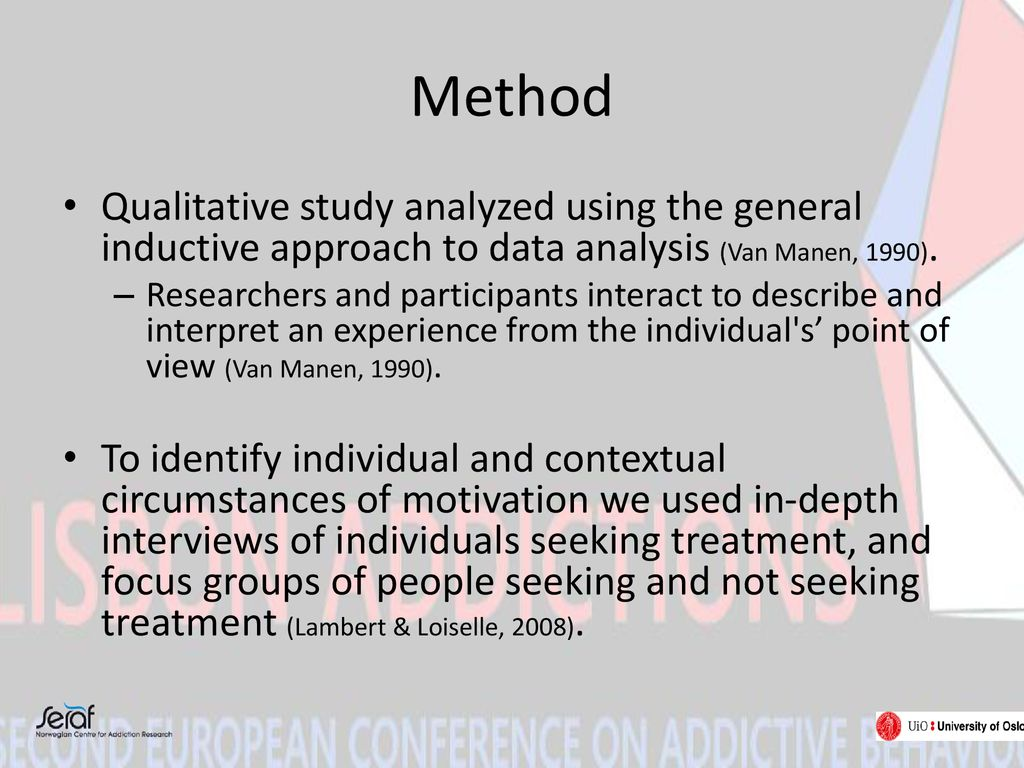 Method Qualitative study analyzed using the general inductive approach to data analysis (Van Manen, 1990).