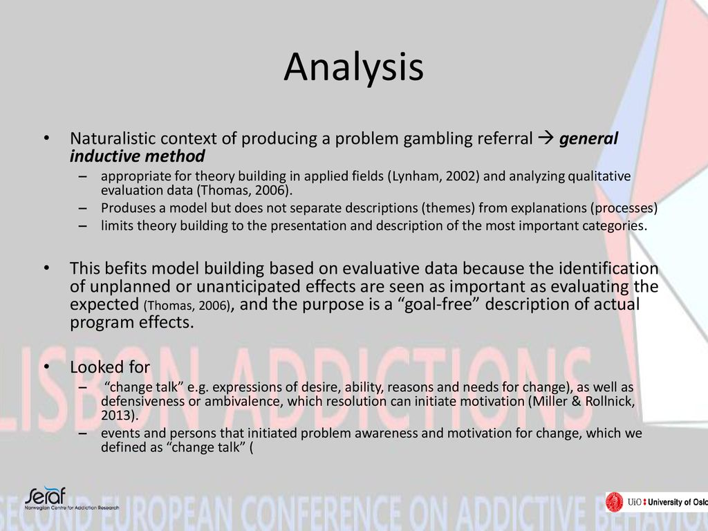 Analysis Naturalistic context of producing a problem gambling referral  general inductive method.