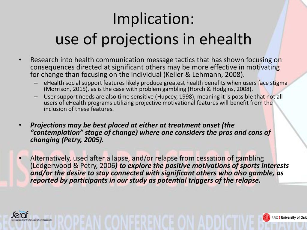 Implication: use of projections in ehealth