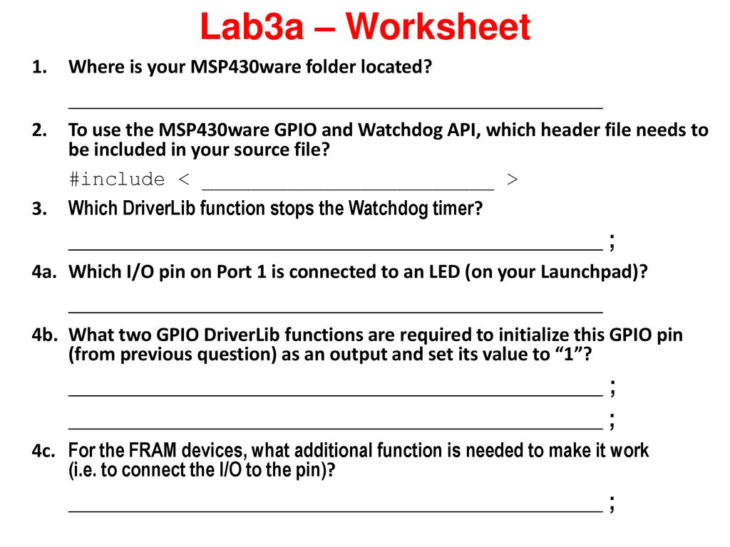 Blinking an LED Using MSP430ware to Control GPIO - ppt download