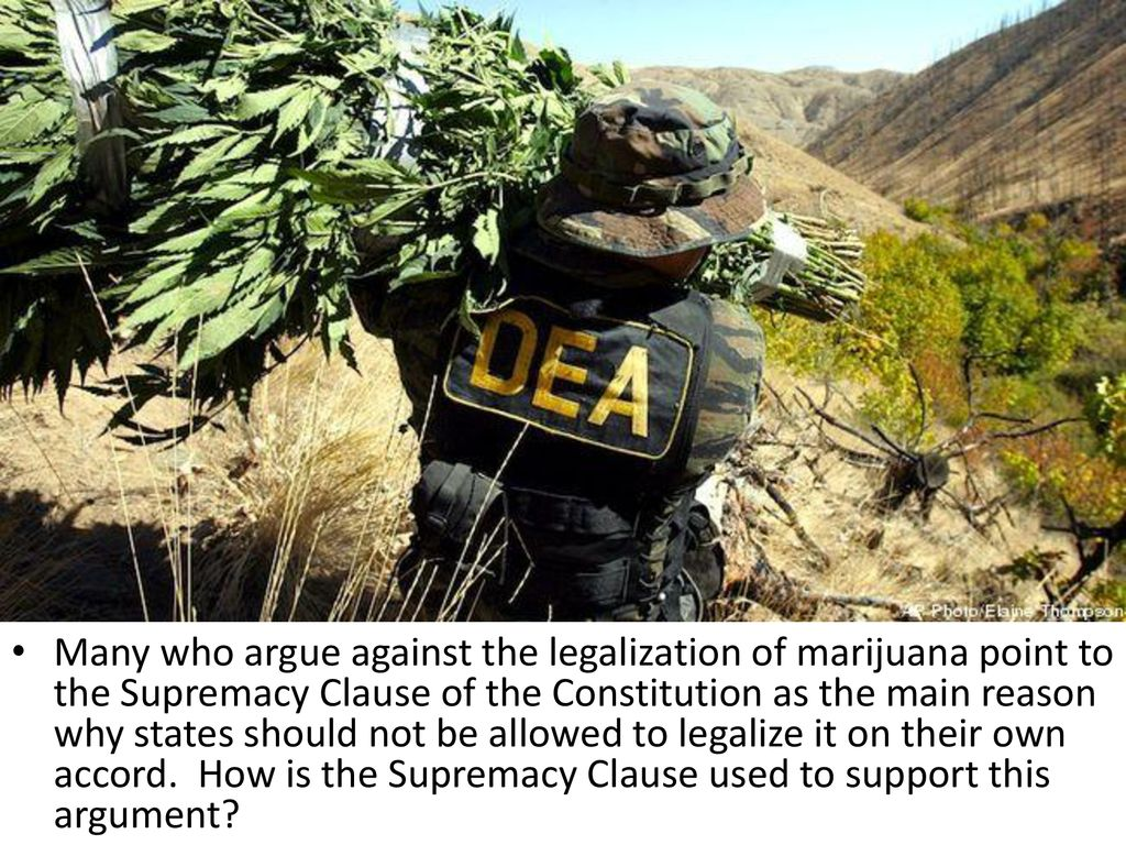 Many who argue against the legalization of marijuana point to the Supremacy Clause of the Constitution as the main reason why states should not be allowed to legalize it on their own accord.