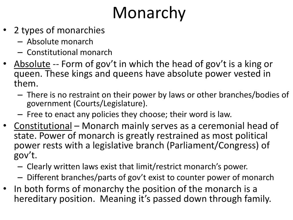 Monarchy 2 types of monarchies