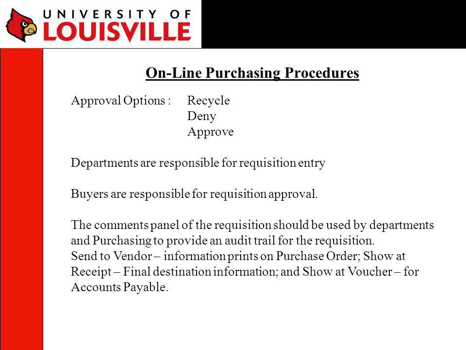 On-Line Purchasing Procedures
