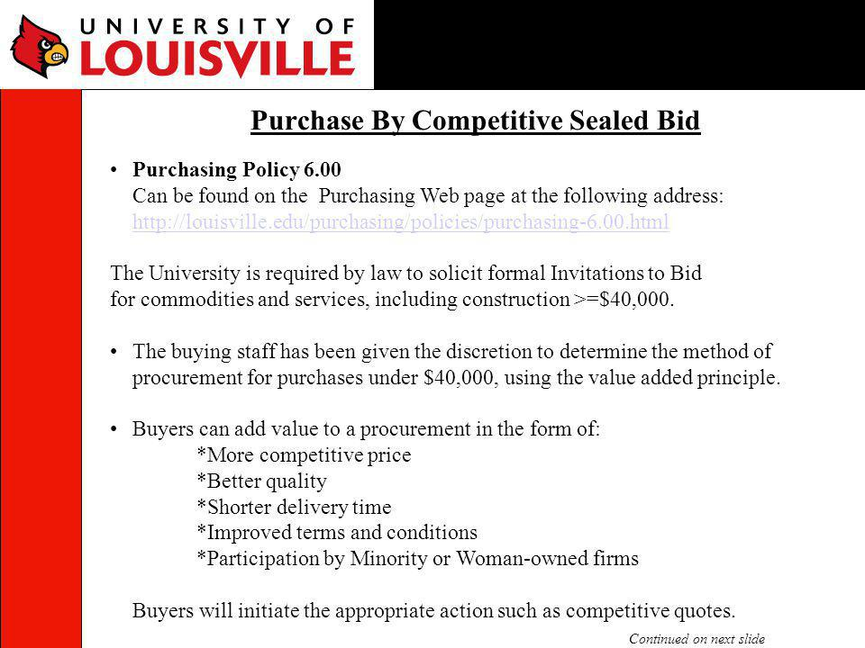 Purchase By Competitive Sealed Bid