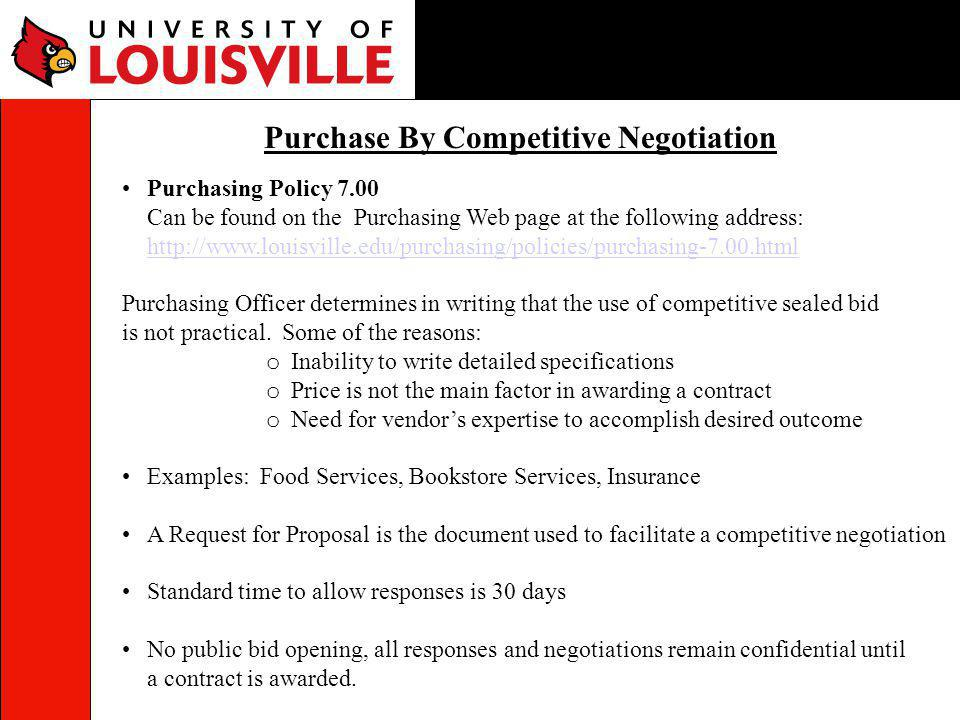 Purchase By Competitive Negotiation