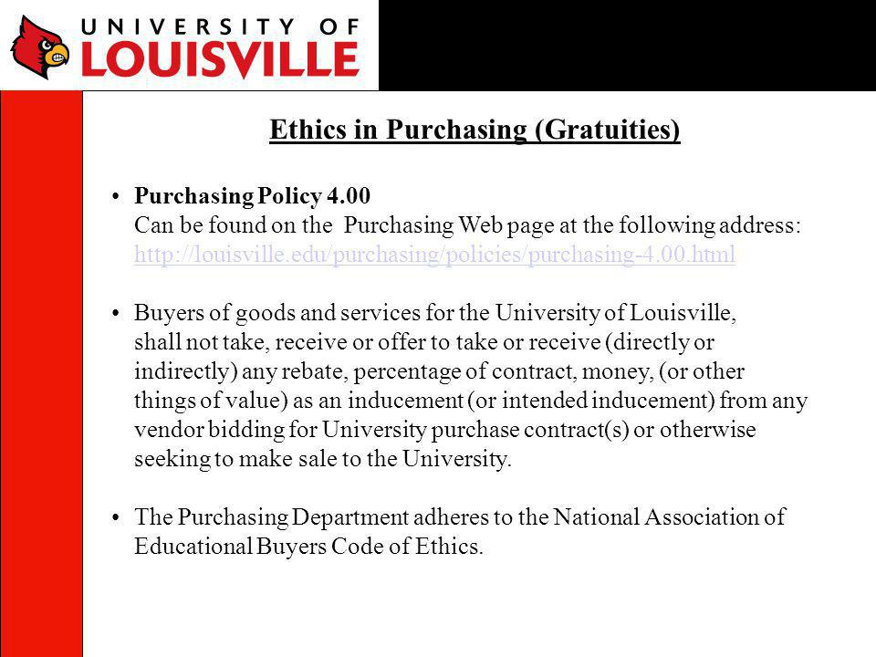 Ethics in Purchasing (Gratuities)