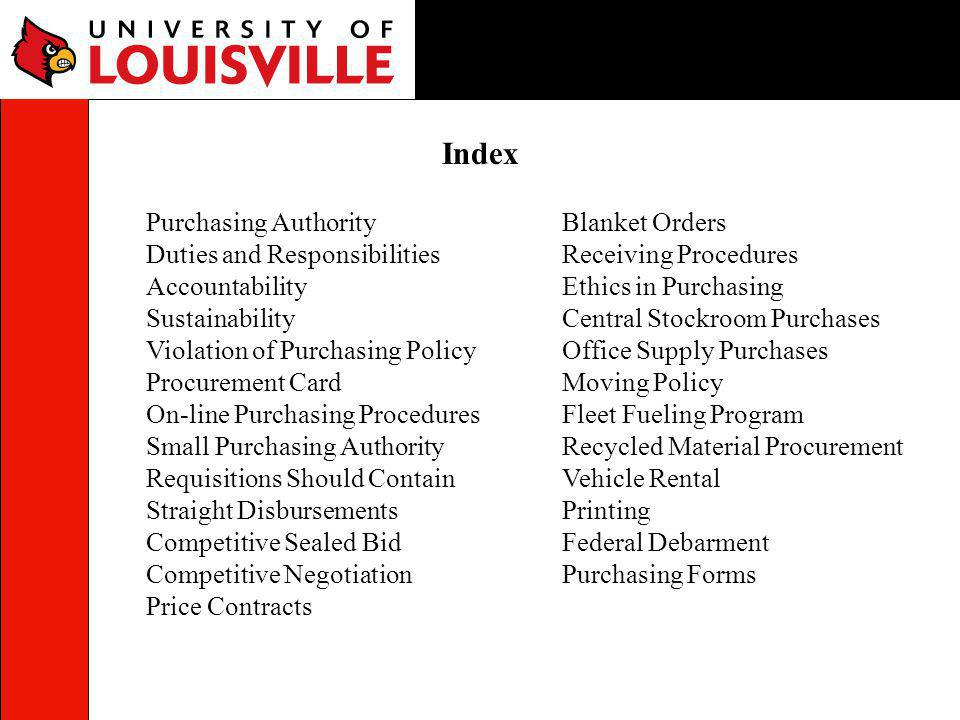 Index Purchasing Authority Duties and Responsibilities Accountability