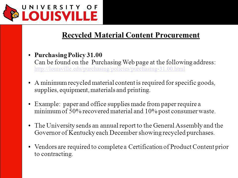 Recycled Material Content Procurement
