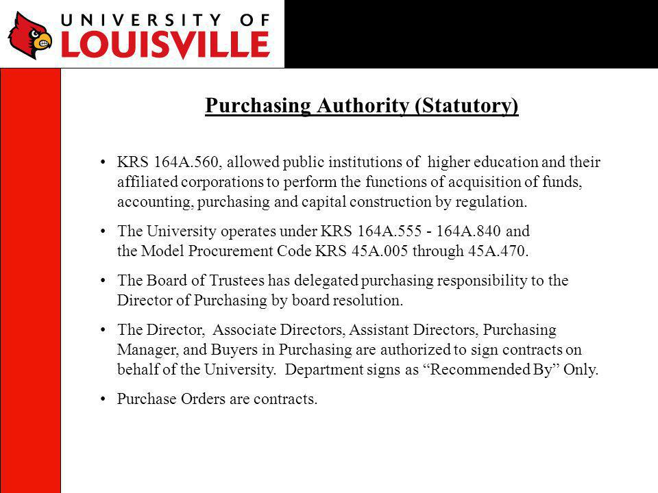 Purchasing Authority (Statutory)