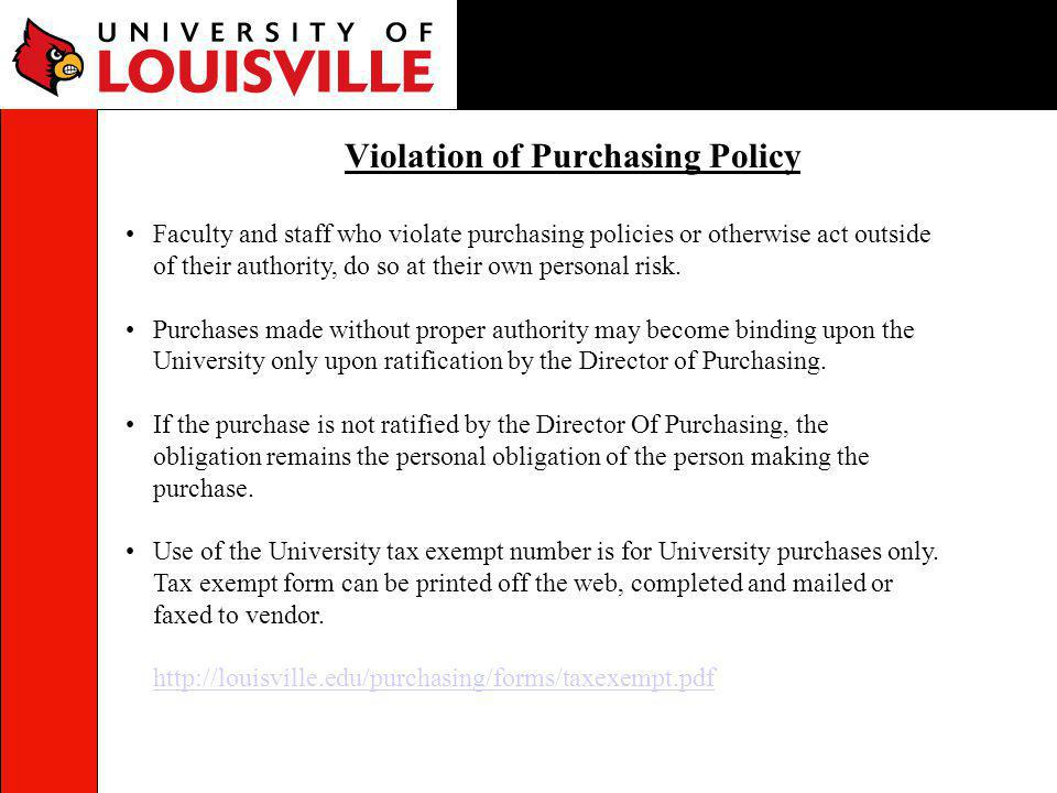 Violation of Purchasing Policy
