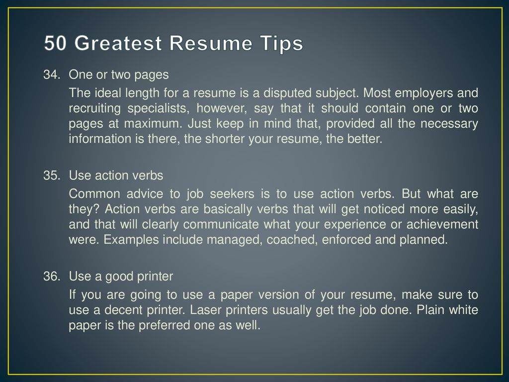 50 greatest resume tips student job centre ppt download