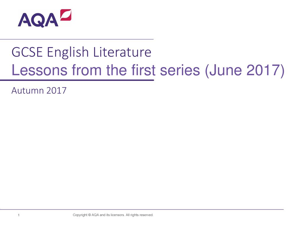 GCSE English Literature Lessons from the first series (June