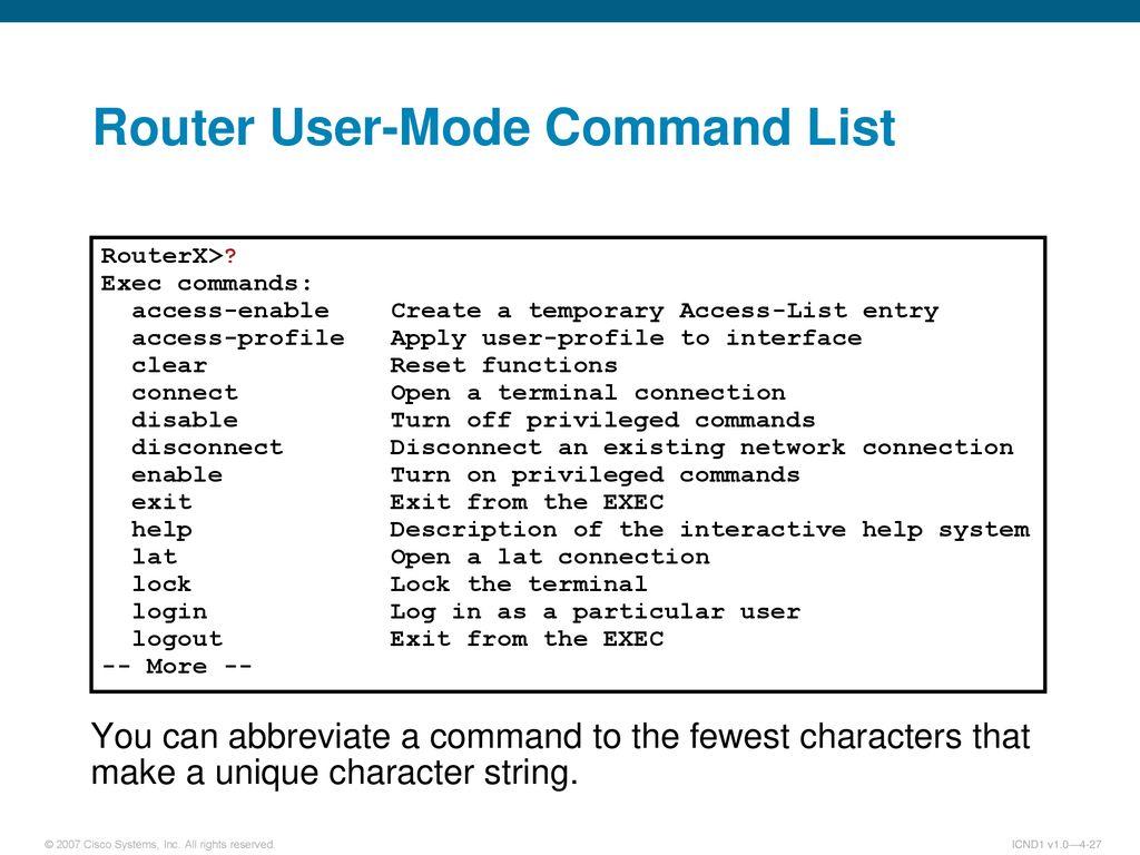 Cisco Commands List