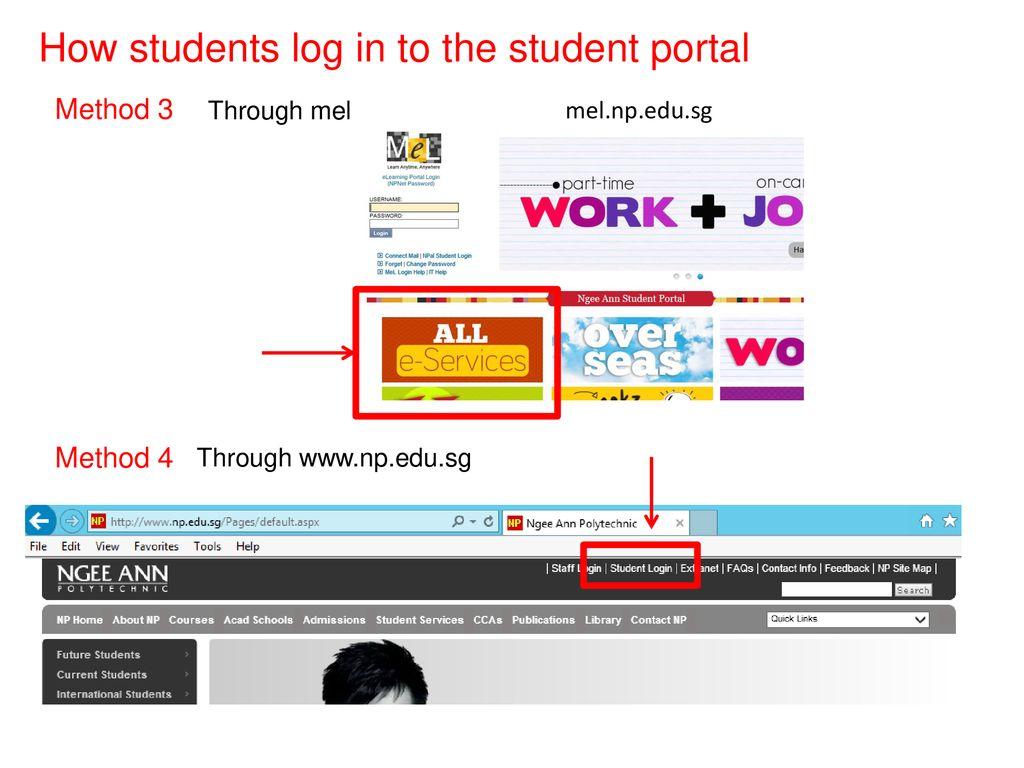 LSCT students' portal Method 1 Method 2 Direct hyperlink