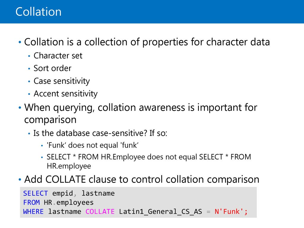 Working with SQL Server 2016 Data Types - ppt download