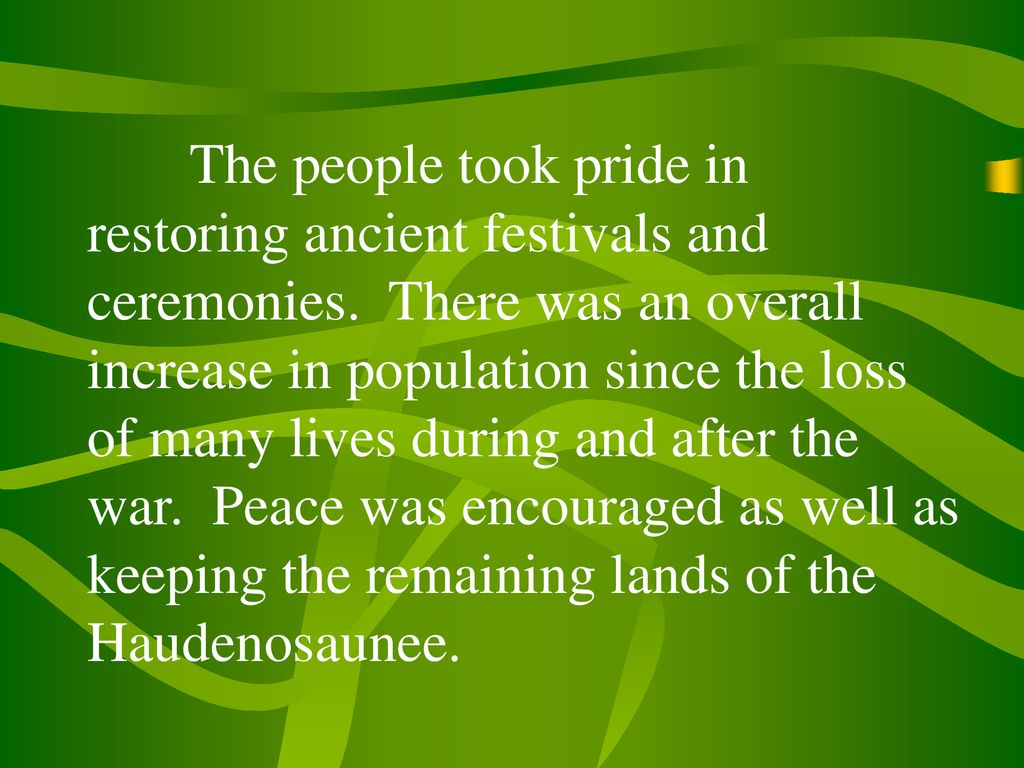 The people took pride in restoring ancient festivals and ceremonies