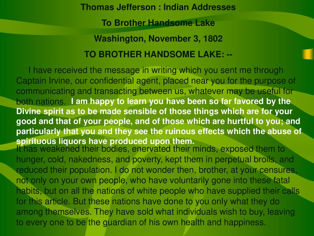 Thomas Jefferson : Indian Addresses To Brother Handsome Lake