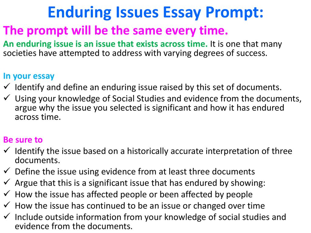 7 Enduring Issues Essay