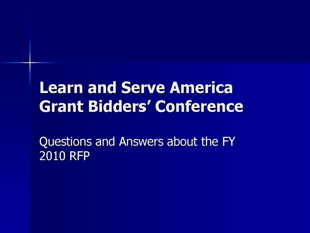 Learn And Serve America Grant Bidders Conference