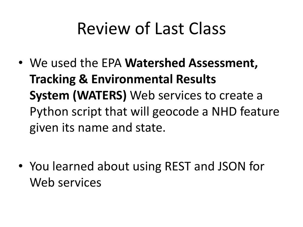 Using Python to Interact with the EPA WATERS Web Services