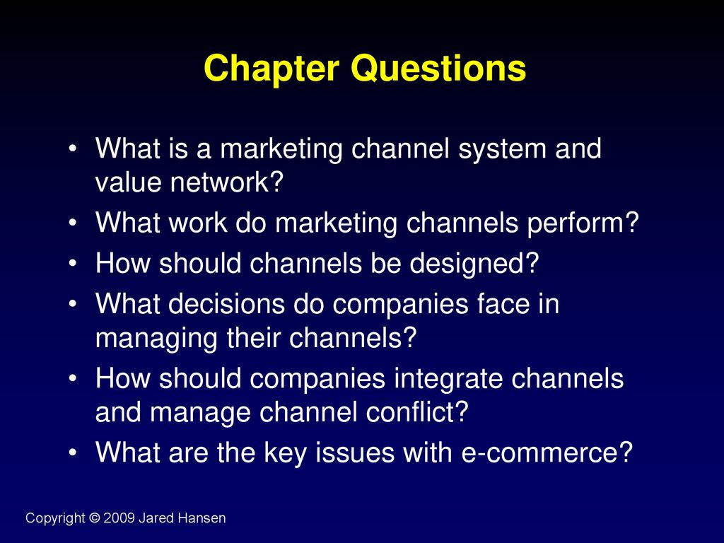what is a marketing channel system and value network