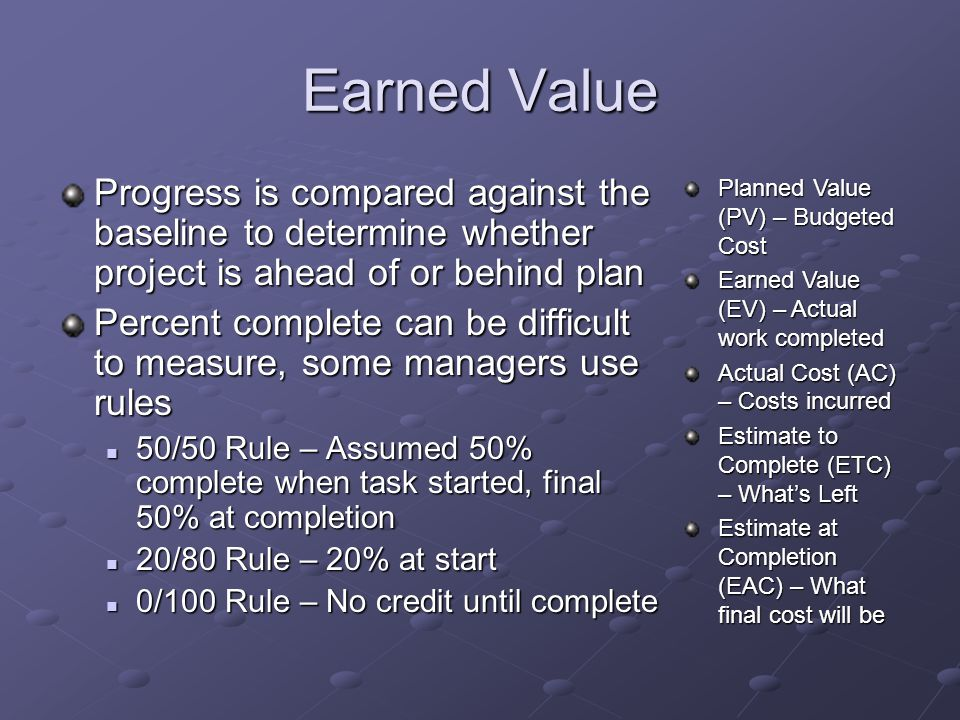 Earned Value Progress is compared against the baseline to determine whether project is ahead of or behind plan.