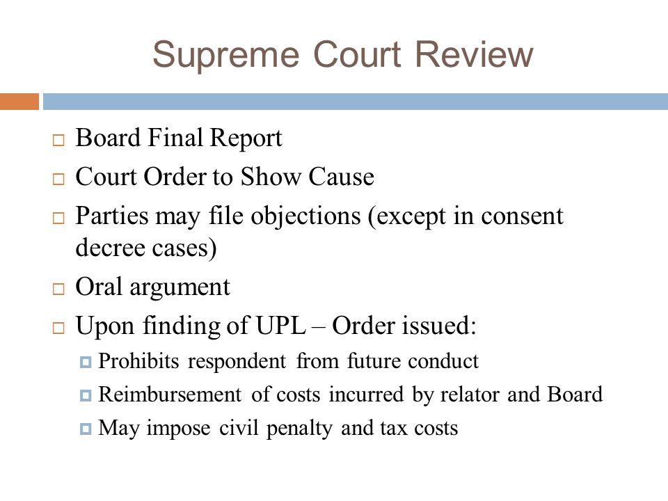 Supreme Court Review Board Final Report Court Order to Show Cause