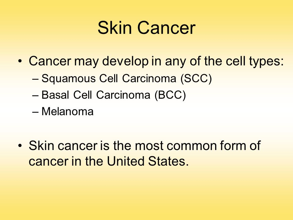 Skin Cancer Cancer may develop in any of the cell types: