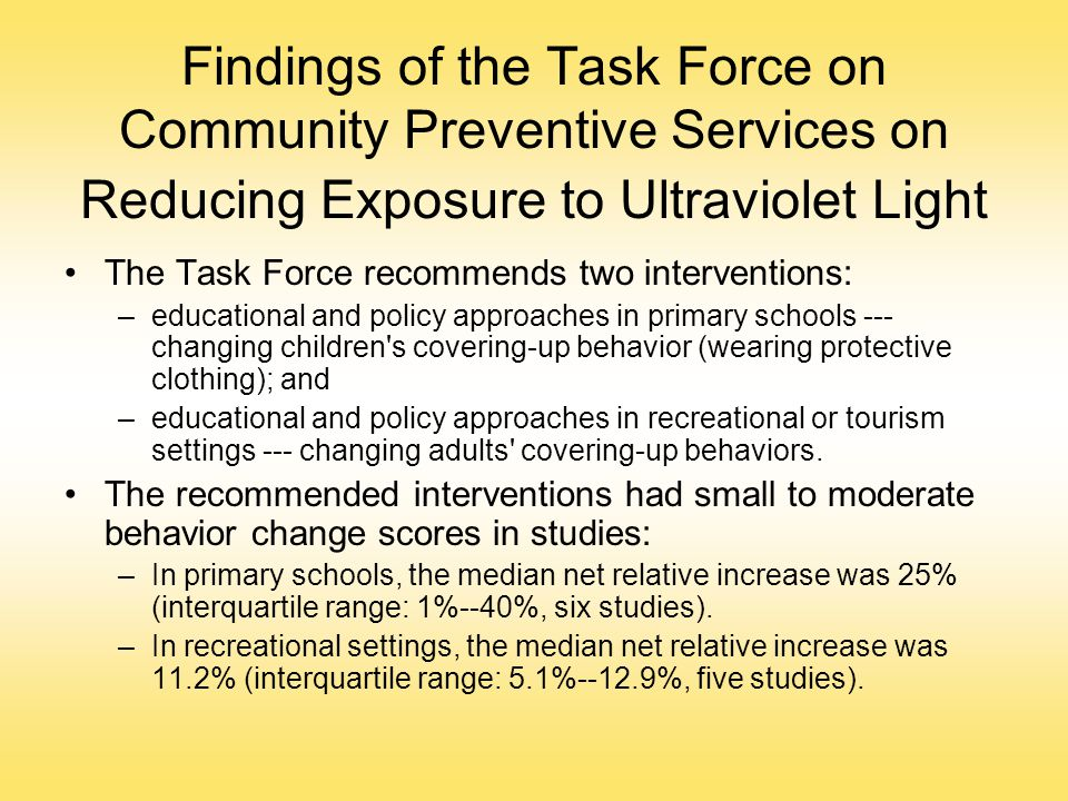 Findings of the Task Force on Community Preventive Services on Reducing Exposure to Ultraviolet Light