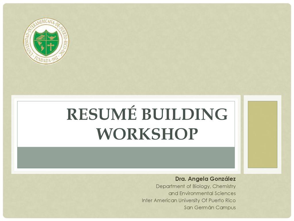 Resum Building Workshop Ppt Download