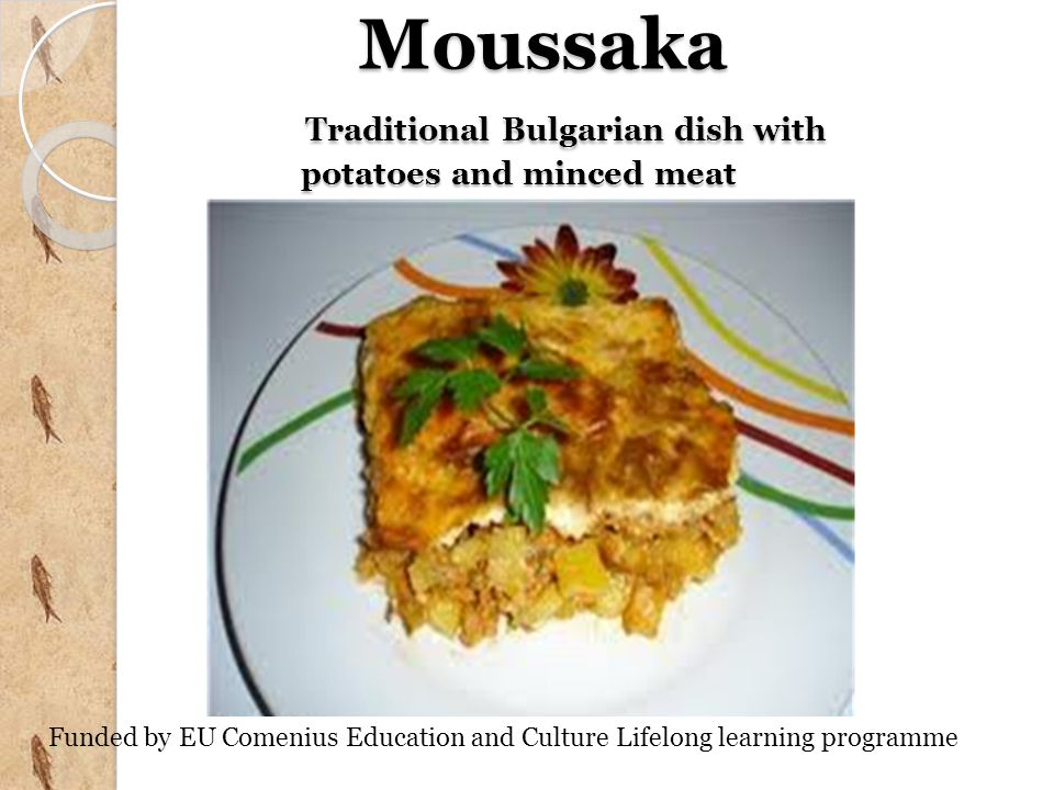 Moussaka Traditional Bulgarian dish with potatoes and minced meat