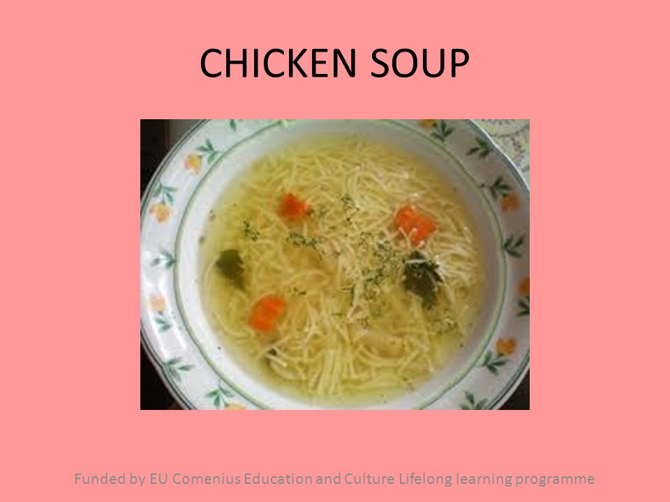 CHICKEN SOUP Funded by EU Comenius Education and Culture Lifelong learning programme