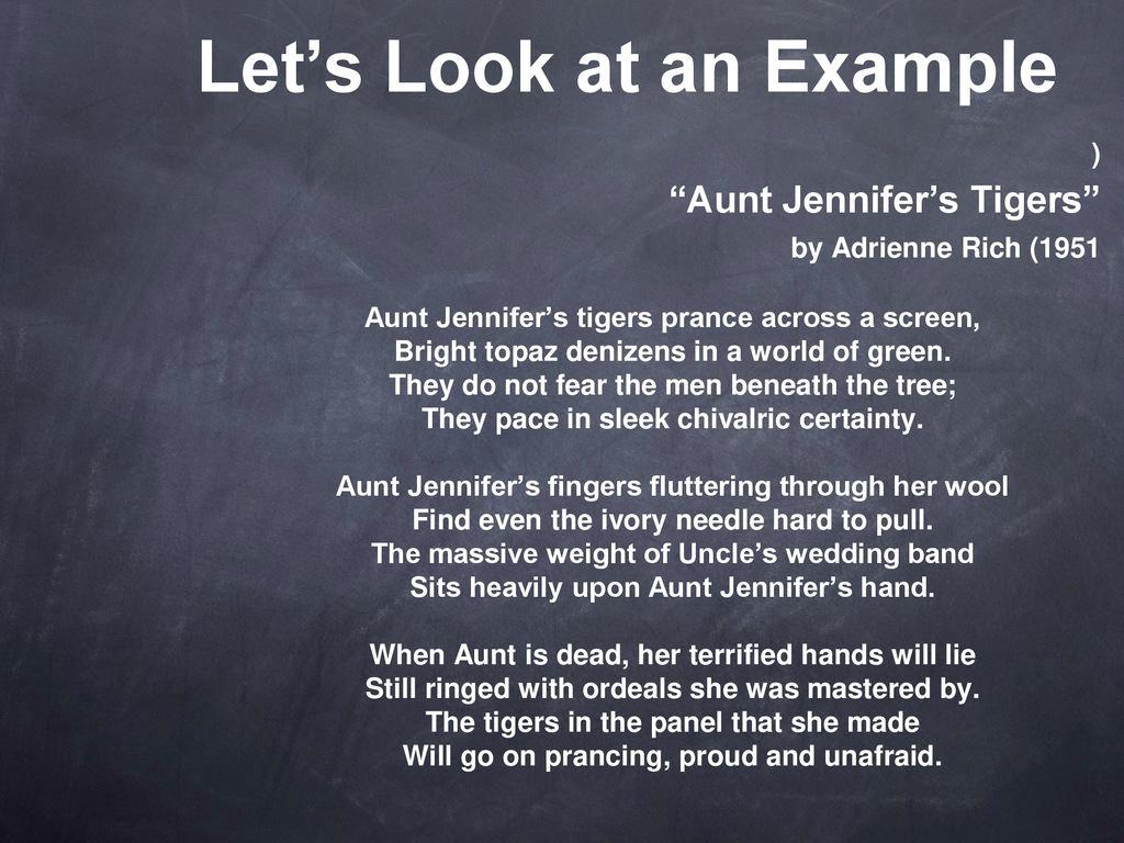 aunt jennifers tigers analysis