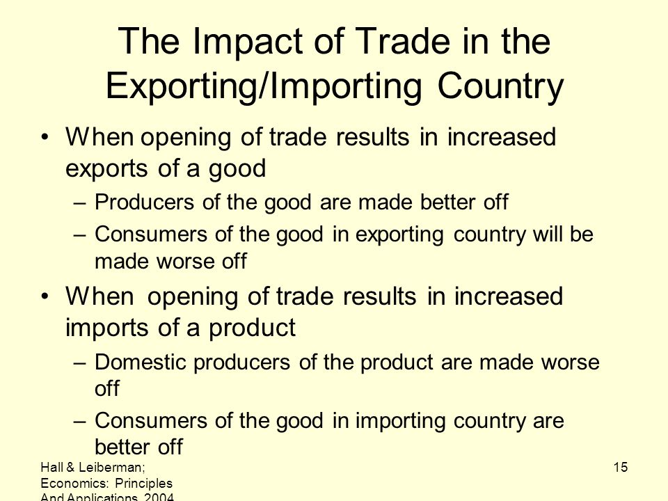 The Impact of Trade in the Exporting/Importing Country