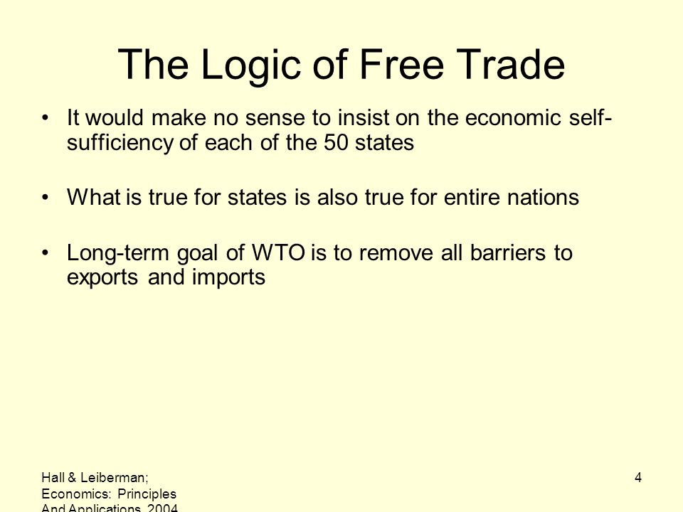 The Logic of Free Trade It would make no sense to insist on the economic self-sufficiency of each of the 50 states.