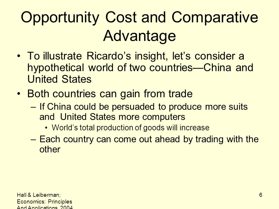 Opportunity Cost and Comparative Advantage