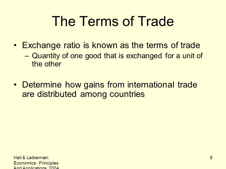 The Terms of Trade Exchange ratio is known as the terms of trade