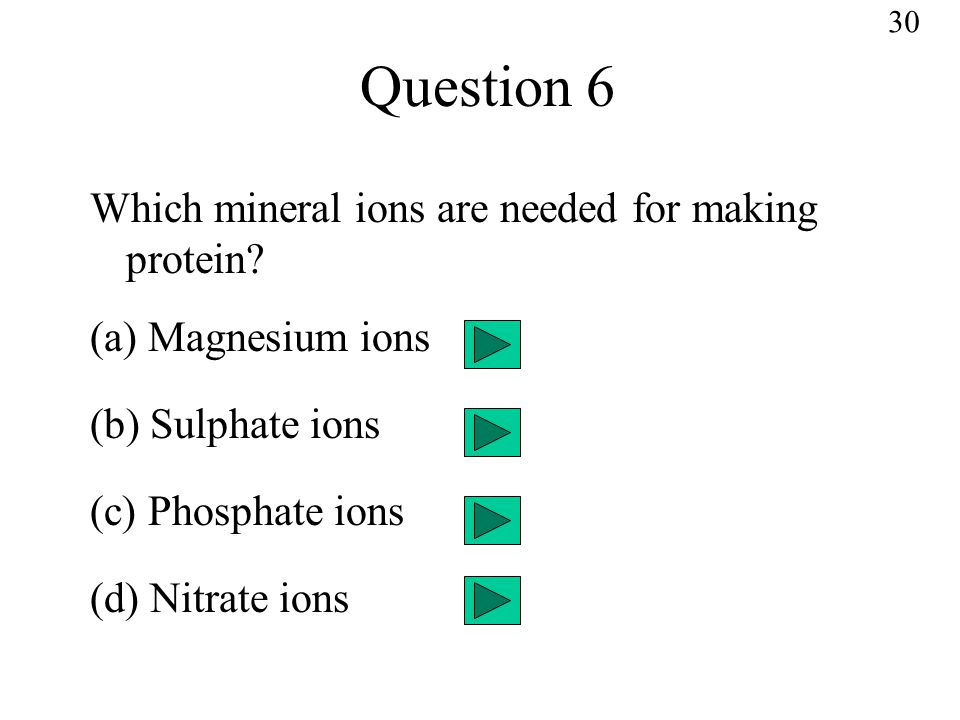Question 6 Which mineral ions are needed for making protein