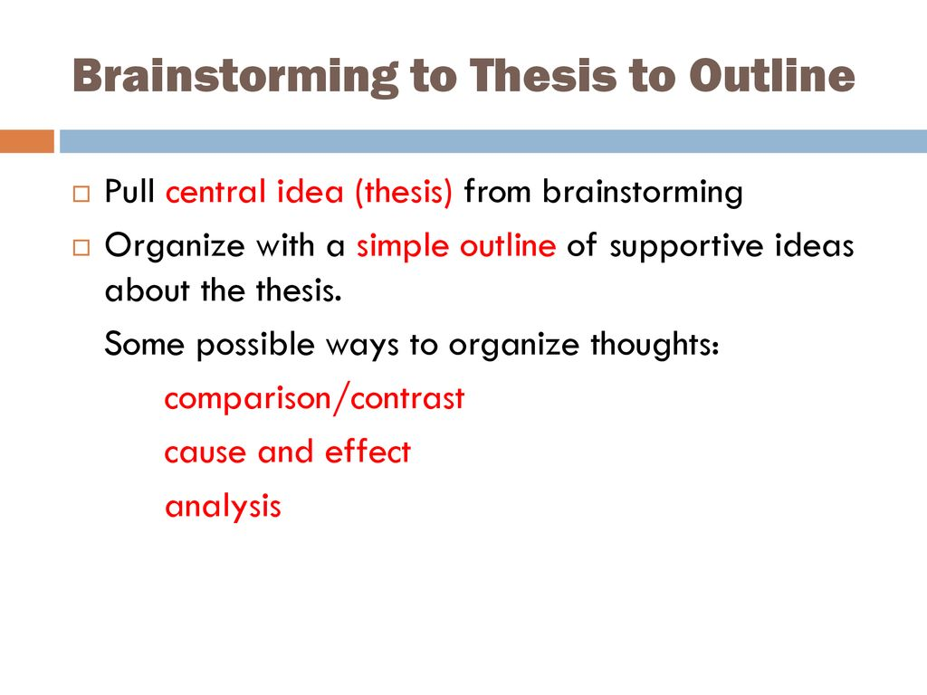 Brainstorming to Thesis to Outline