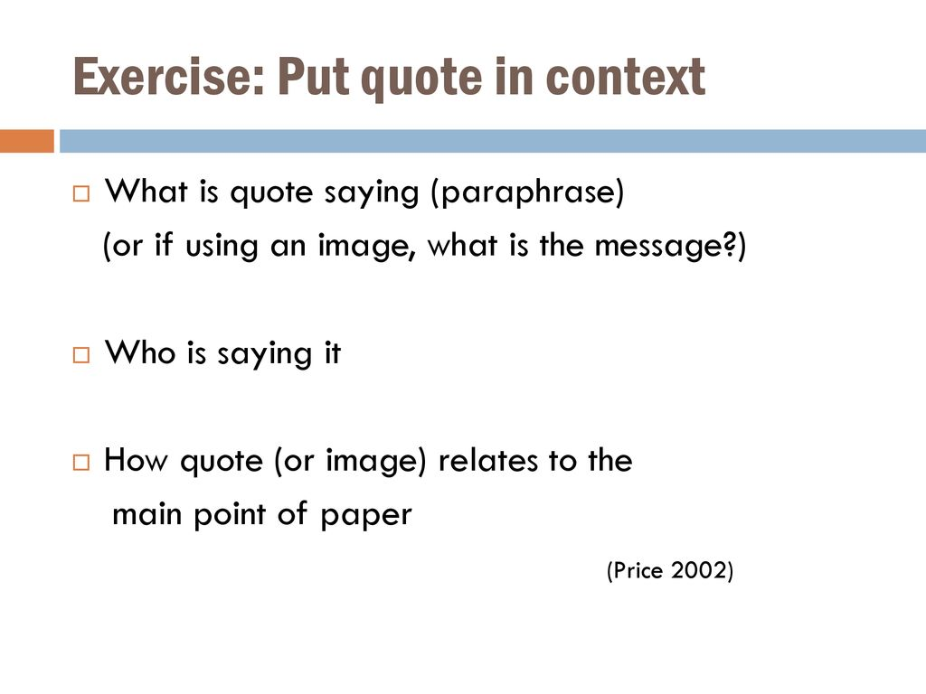 Exercise: Put quote in context