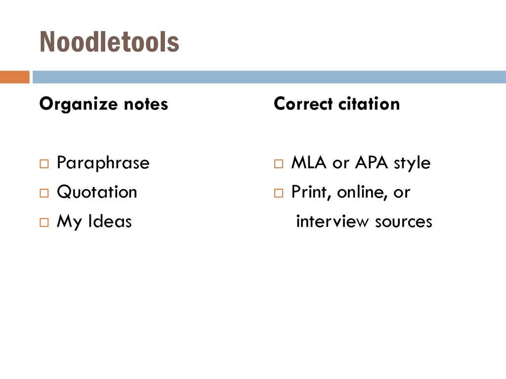 Noodletools Organize notes Paraphrase Quotation My Ideas