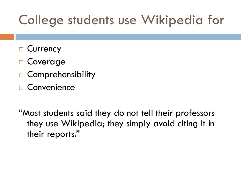 College students use Wikipedia for