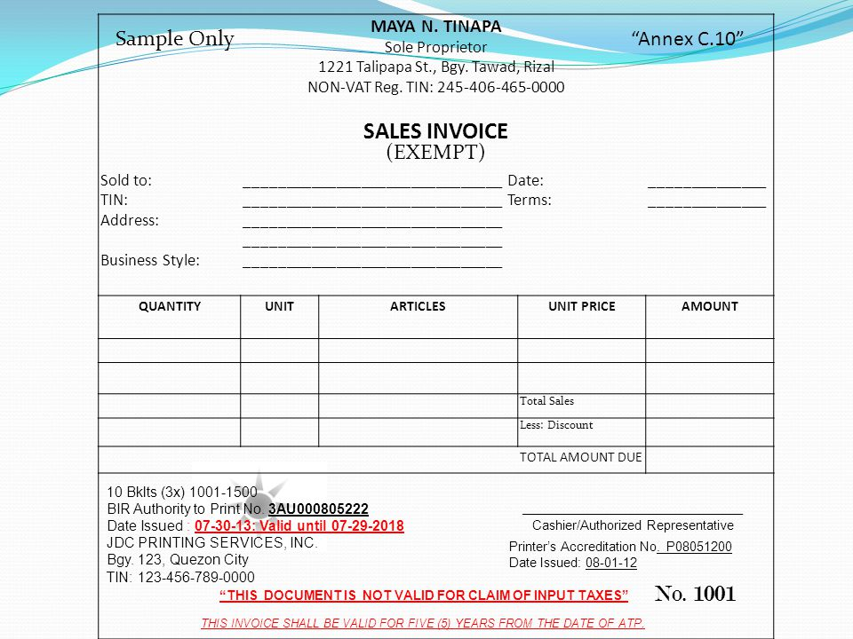Official Receipt No Sample Only Annex C 1 1 Efg Corporation