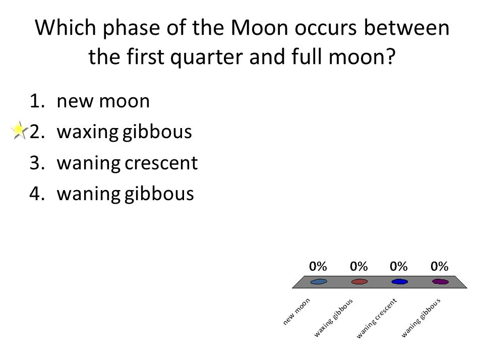 Which phase of the Moon occurs between the first quarter and full moon