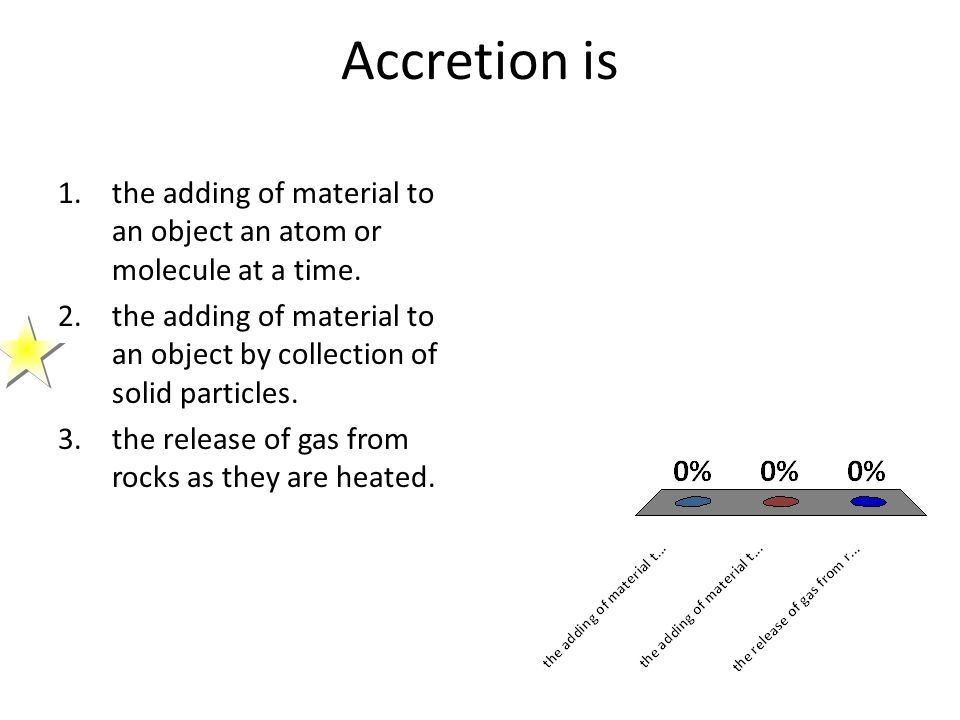 Accretion is the adding of material to an object an atom or molecule at a time.