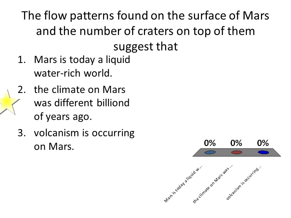 The flow patterns found on the surface of Mars and the number of craters on top of them suggest that
