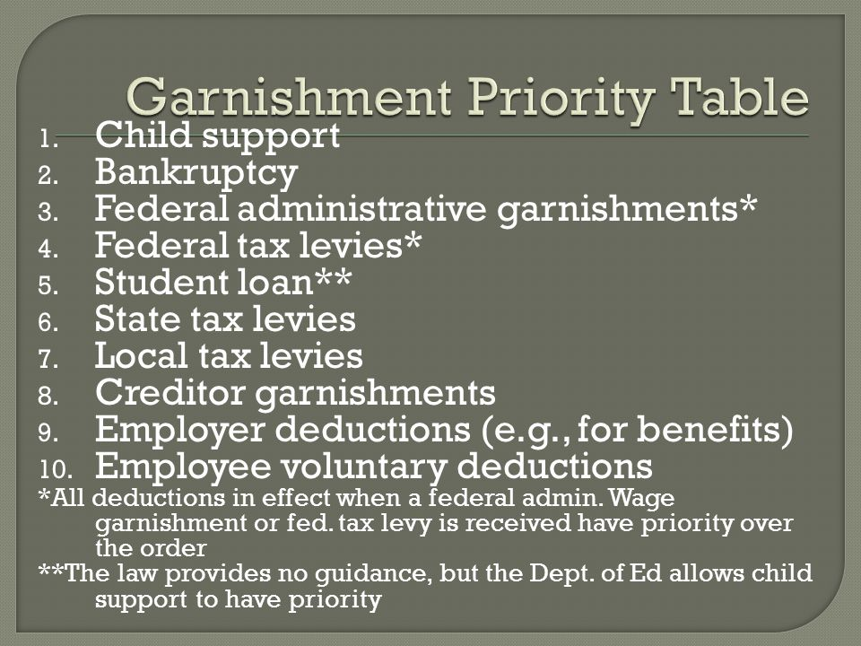 Garnishment Priority Table